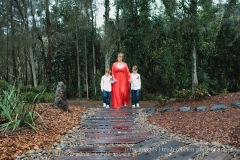 2013 Angela & Mark Bridal walk in with her two boys. Blended family Wedding. Coffs Harbour Botanic Gardens
